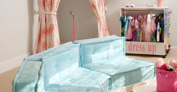 House of Turquoise: Liz Carroll Interiors, little girls room, turquoise couch, sectional,stage