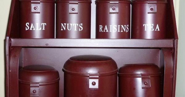 primitive tin canister set burgundy large hanging avignon rooster kitchen canister set