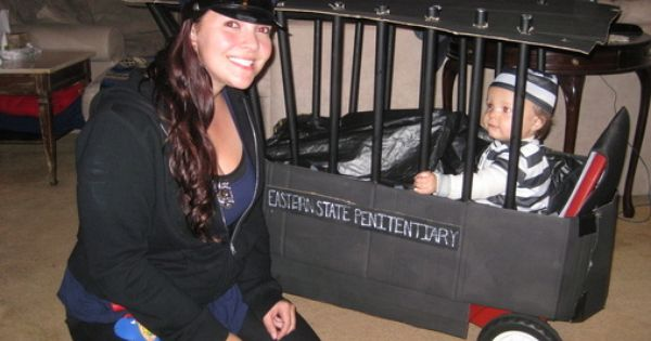 Police Officer and Inmate - Homemade costumes for babies