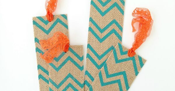 Diy burlap bookmarks make in 10 minutes using printed for Burlap ribbon craft ideas