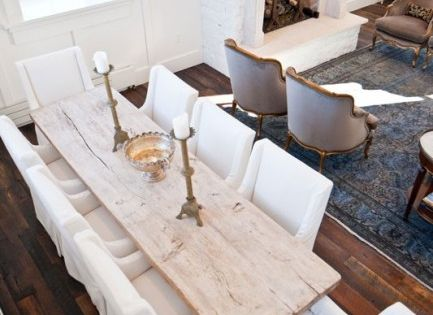 reclaimed dining table slipcovered chairs dining  : db4fef68129f2fbadc13e1f5c680907c from www.pinterest.com size 600 x 315 jpeg 27kB