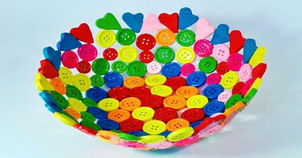 Como hacer un bol con botones mother day pinterest - Manualidades de botones ...
