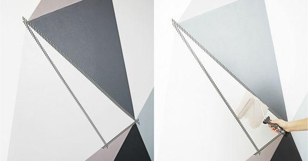 muster an der wand mit klebeband kreieren farbe in taupe und grau zuk nftige projekte. Black Bedroom Furniture Sets. Home Design Ideas