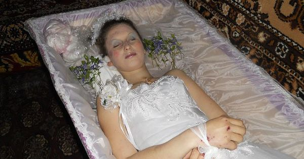 Russian Woman In Her Open Casket During Her Funeral