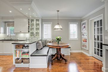 Super Peninsula Bench Seating Transitional White Kitchen Pdpeps Interior Chair Design Pdpepsorg