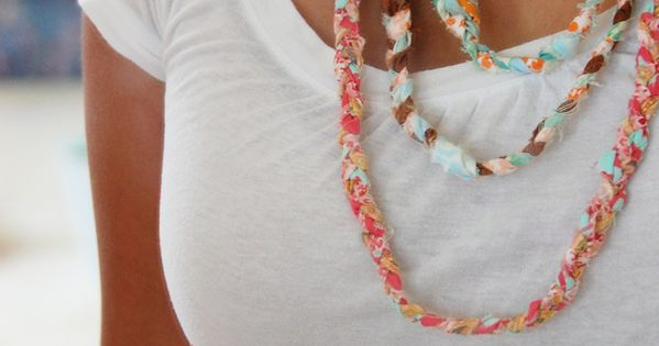 scrap fabric necklaces: wanna make some of these! fun for summer.