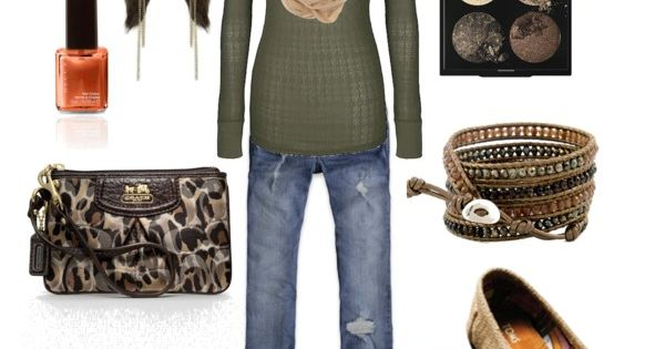 Love the oat-colored snood with the olive green sweater.......burlap Toms.....omg; I have
