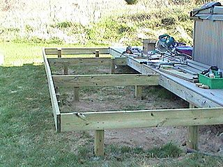 How To Extend An Existing Deck Expand An Old Deck Make A Deck Bigger By Adding More Posts And Joists Building A Deck Deck Building Plans Diy Deck