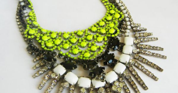 The BIG necklace (neon and rhinestone)