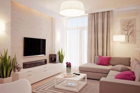 wohnzimmer in weiß und beige gehalten - home entertainment system, Mobel ideea
