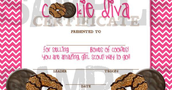 Girl Scout Cookie Diva Award Certificate - DIY, Printable ...