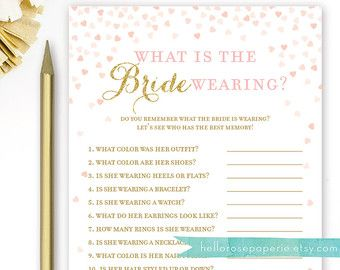 0001-P Printable Pink and Gold Glitter Polka Dots Bridal Shower Games Pink and Gold Bridal Shower Games Package with Six Games