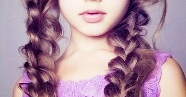 Messy braids - braid then pull and loosen. So cute