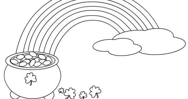 st patrick s day rainbow coloring pages - rainbow with a pot of gold coloring page st patrick s