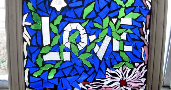 Blue love stained glass on glass artist lisa anderson for Anderson art glass