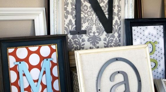 Craft Idea Day: Initials framed with scrapbook paper. - cute for gallery