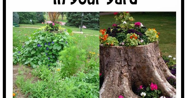living the craft life  10 ways to decorate  hide  a tree stump in your yard