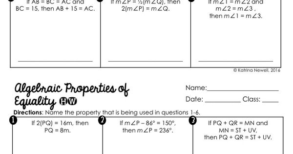 mrs newell 39 s math free algebraic properties of equality foldable and worksheet geometry. Black Bedroom Furniture Sets. Home Design Ideas