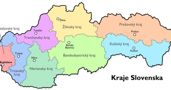 Map of Slovakia current counties from