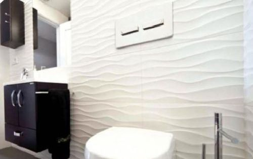 Designer Textured Glossy White Decor Wave 3d Effect Wavy