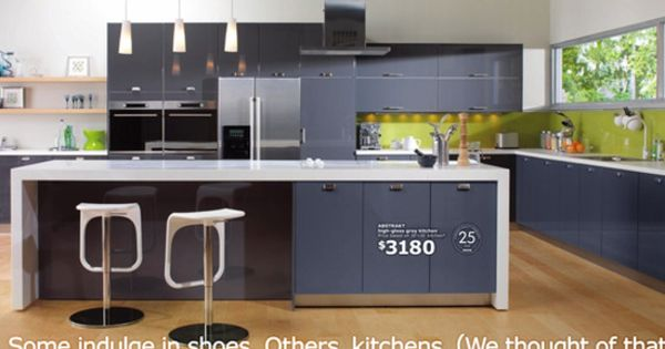 Akurum Kitchen With High Gloss Grey Abstrakt By Ikea