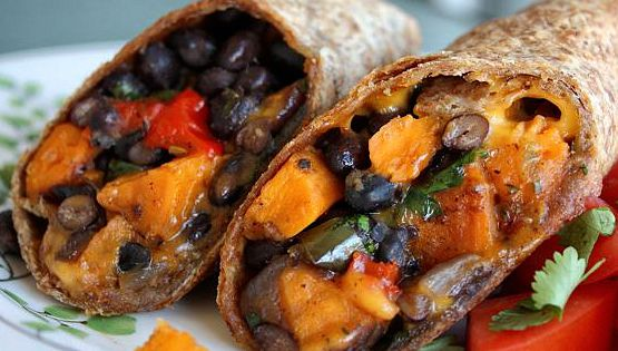 Roasted veggie & black bean burritos. sweet potato, black bean, and roasted
