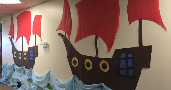 Vbs Treasure Quest Pirate Ships Made With Projector And