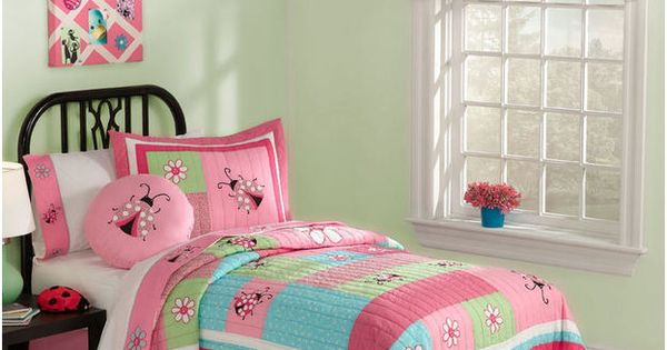 Kids Bedding Pink Amp Aqua Ladybug Girls Cotton Twin Quilt