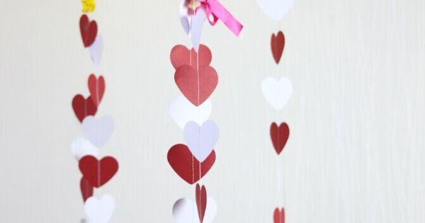 Coeur guirlande blanc rouge or anniversaire guirlande for Accessoire deco rouge