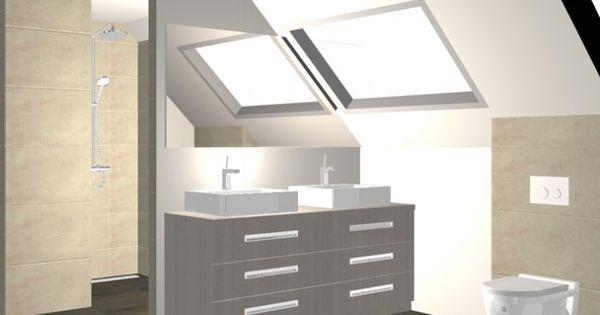 Badkamer onder schuin plafond dagmar buysse 3d ontwerpen badkamers pinterest plafond - Amenager badkamer ...