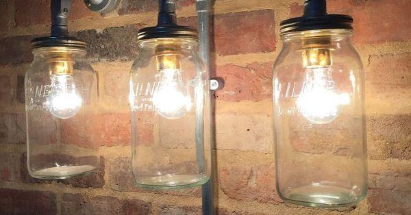 Kilner Jar Wall Lights : Industrial Steampunk Jam Jar wall light,Cafe,Bar,Triple Kilner Jar Light Light it up ...