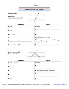 Parallel Lines And Proofs Geometry Proofs Teaching Geometry Geometry Worksheets