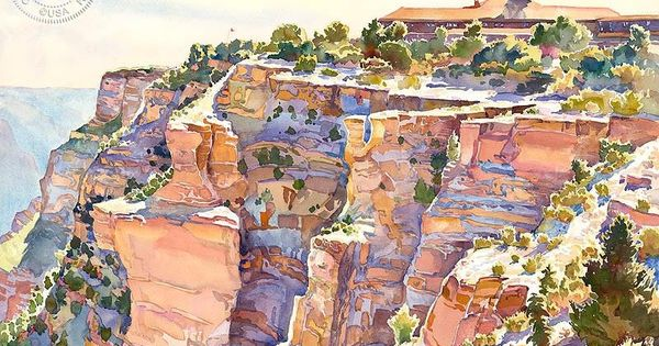 El Tovar Grand Canyon National Park Dessin Aquarelle Aquarelle