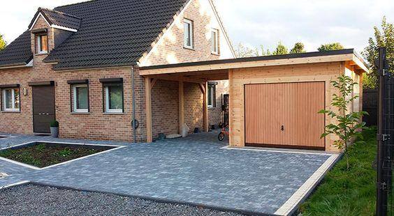 Garage Bois Avec Un Carport Toit Plat Garage Garage Pergola Diy Garage Renovation