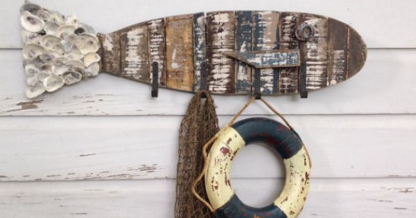 Rustic wooden fish hat rack beach house coat rack fish for Racks fish house