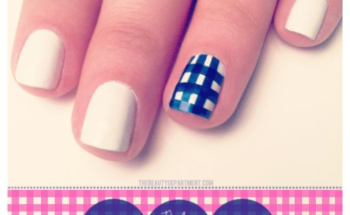 Gingham Accent Nail by @The Beauty Department nailart
