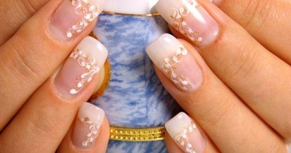 Nail Art Mariage 55 Id Es Splendides Pour Votre Jour J French Manucure Motifs Floraux Et