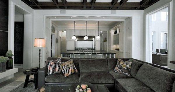 Un Plafond Moderne Caissons En Bois Dans Le Salon Salon Pinterest Recherche Design Et