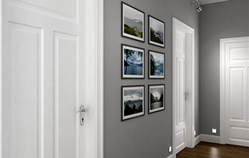 Perfect Corridor Grey Walls White Doors Dark Wooden