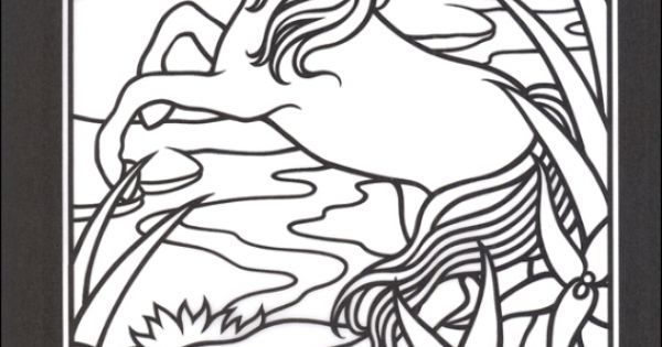 Abstract Horse Coloring Pages : The white horse in stained glass printable coloring