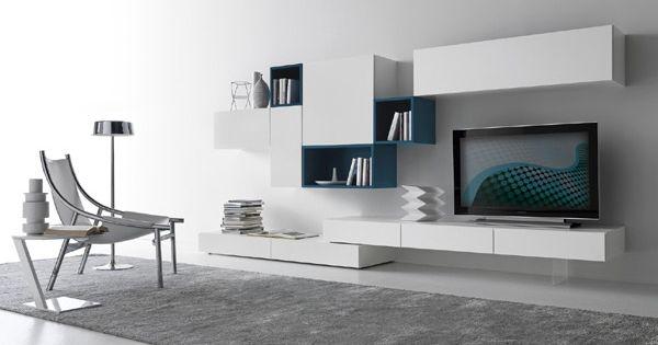 parete attrezzata bianca parete grigia - Cerca con Google | salone ...