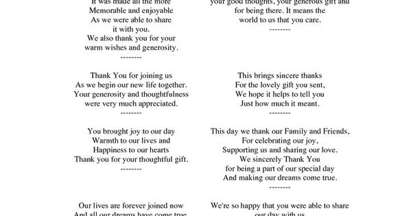 Thank You Letter For Wedding Gift: Wedding Thank You Note Wording