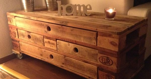 diy ecostyle kommode tisch auf rollen aus euro paletten diy pinterest pallets woods and. Black Bedroom Furniture Sets. Home Design Ideas