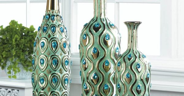 Home decor peacock long neck jewel vase home kitchen pretty as a peacock pinterest - Peacock home decor wholesale photos ...