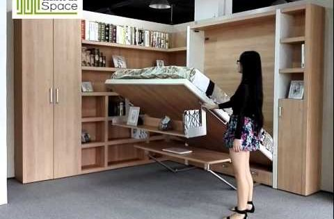Smart Space Saving Wall Bed Murphy Bed With Bookshelf Desk