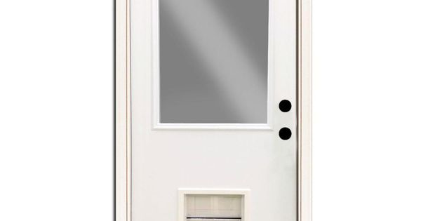 Steves Sons Premium Half Lite Primed White Steel Back Door 32 In Left Hand Inswing With Extra Large Pet Door Spd H1clpr 28 4ilh The Home Depot Pet Door Steel Entry Doors Steel