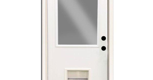 Steves Sons Premium Half Lite Primed White Steel Back Door 32 In Left Hand Inswing With Extra Large Pet Door Spd H1clpr 28 4ilh The Home Depot Pet Door Steel Entry Doors Steel