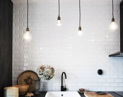 10 Inspiring Uses of Subway Tiles in the Kitchen lighting fixture: a
