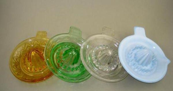 Vintage Set Of 4 Color Glass Europe Lemon Juicers Ebay Lemon Juicer Juicer Vintage Glass Pitchers