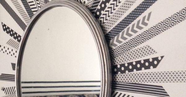 Diy mirroir rond masking tape miroir soleil for Miroir graphique
